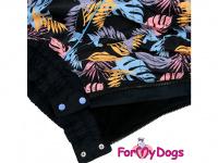 Obleček pro psy středních a větších plemen – zimní overal PALM LEAF od ForMyDogs z voduodpudivého materiálu. Zapínání na zip na zádech, plyšová podšívka. (2)