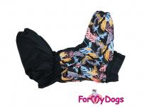 Obleček pro psy středních a větších plemen – zimní overal PALM LEAF od ForMyDogs z voduodpudivého materiálu. Zapínání na zip na zádech, plyšová podšívka. (4)