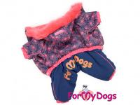 Obleček pro fenky – zimní overal PINK FIREWORKS od For My Dogs z voduodpuzujícího materiálu. Plyšová podšívka, zateplený sinteponem.