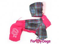 Obleček pro fenky – sinteponem zateplený zimní overal PINK KNITTED od ForMyDogs. Vylepšené zapínání na zádech, odnímatelná kapuce, hedvábná podšívka. (4)