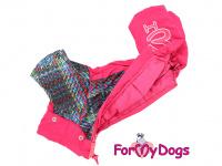 Obleček pro fenky – sinteponem zateplený zimní overal PINK KNITTED od ForMyDogs. Vylepšené zapínání na zádech, odnímatelná kapuce, hedvábná podšívka. (5)