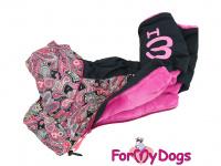 Obleček pro fenky – sinteponem zateplený zimní overal PINK ORIENT od ForMyDogs. Vylepšené zapínání na zádech, odnímatelná kapuce, kožešinová podšívka. (2)