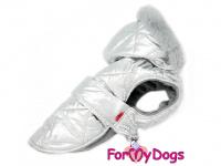 Obleček pro psy i fenky malých až středních plemen – zimní bunda SILVER od ForMyDogs. Barva stříbrná.