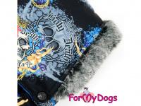 Obleček pro psy – sinteponem zateplený zimní overal SKULL od ForMyDogs. Vylepšené zapínání na zádech, odnímatelná kapuce, hedvábná podšívka. (6)