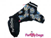 Obleček pro psy středních a větších plemen – zimní overal SKULL od ForMyDogs z voduodpudivého materiálu. Zapínání na zip na zádech, plyšová podšívka.
