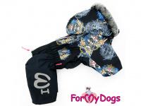 Obleček pro psy – sinteponem zateplený zimní overal SKULL od ForMyDogs. Vylepšené zapínání na zádech, odnímatelná kapuce, hedvábná podšívka.