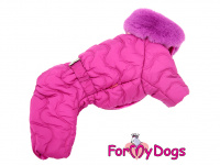 Obleček pro fenky – teplý zimní overal WAVES od ForMyDogs z voduodpuzujícího materiálu s plyšovou podšívkou. Barva růžová. (2)