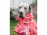 Extra zateplený outdoorový zimní obleček pro psy HURTTA. Voděodolný a snadno udržovatelný materiál, termoizolační folie udržující teplo, 3M reflexní prvky. Barva červená, vzor CORAL CAMO. (FOTO 3)