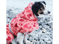 Extra zateplený outdoorový zimní obleček pro psy HURTTA. Voděodolný a snadno udržovatelný materiál, termoizolační folie udržující teplo, 3M reflexní prvky. Barva červená, vzor CORAL CAMO. (3)