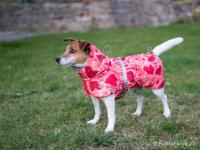 Extra zateplený outdoorový zimní obleček pro psy HURTTA. Voděodolný a snadno udržovatelný materiál, termoizolační folie udržující teplo, 3M reflexní prvky. Barva červená, vzor CORAL CAMO. (FOTO 4)