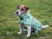 Extra zateplený outdoorový zimní obleček pro psy HURTTA. Voděodolný a snadno udržovatelný materiál, termoizolační folie udržující teplo, 3M reflexní prvky. Barva zelená, vzor PARK CAMO. (FOTO)