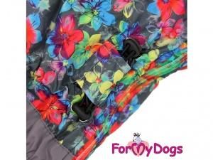 Obleček pro fenky – zimní overal FMD, šedý s květinovým potiskem, detail