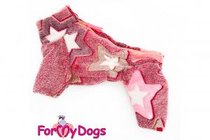 Obleček pro fenky – teplý zimní overal STARS od ForMyDogs z plyšové kožešiny. Zapínání na zip zádech, zvýšený límec pro lepší ochranu krku. (2)