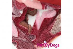 Obleček pro fenky – teplý zimní overal STARS od ForMyDogs z plyšové kožešiny. Zapínání na zip zádech, zvýšený límec pro lepší ochranu krku. (3)