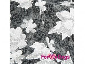 Obleček pro fenky – šedý overal z měkoučké pleteniny, detail