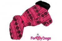 Obleček pro fenky – teplý zimní overal PINK SNOWFLAKE od ForMyDogs z voduodpuzujícího materiálu s kožešinovou podšívkou. Zapínání na druky na bříšku, barva růžová. (2)