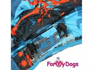 Modrý zimní obleček pro psy, detail