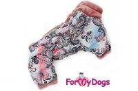 Obleček pro fenky – teplý zimní overal PINK ORNAMENTS od ForMyDogs. Zapínání na zip zádech, podšívka sintepon a plyšová kožešinka.