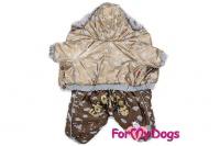 Obleček pro psy – teplý zimní overal METALLIC od ForMyDogs z voduodpuzujícího materiálu s kožešinovou podšívkou. Zapínání na druky na bříšku (3).