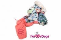 Obleček pro fenky – teplý zimní overal PATCHWORK od ForMyDogs. Vylepšené zapínání na zádech, odnímatelná kapuce, rukávy s vnitřní manžetou (3).