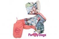 Obleček pro fenky – teplý zimní overal PATCHWORK od ForMyDogs. Vylepšené zapínání na zádech, odnímatelná kapuce, rukávy s vnitřní manžetou.