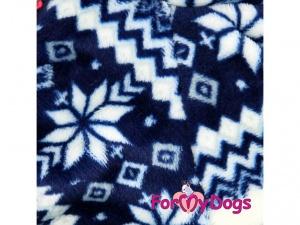 Obleček pro psy – modrobílý zimní overal od FMD, detail