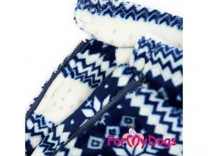 Obleček pro psy – modrobílý zimní overal od FMD, detail (2)