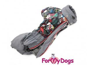 Obleček pro psy – šedý zimní overal FMD SNOOPY, pohled shora