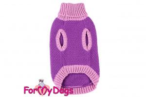 Obleček pro psy i fenky – stylový a teplý svetr PURPLE FRENCHIE od ForMyDogs. Materiál 100% akryl, zdobený aplikací s francouzským buldočkem. Barva fialová. (2)