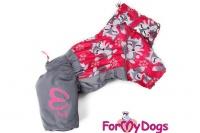 Obleček pro fenky – teplý zimní overal FOX od ForMyDogs. Kožešinová podšívka, vylepšené zapínání na zádech, odnímatelná kapuce, rukávy s vnitřní manžetou (4).