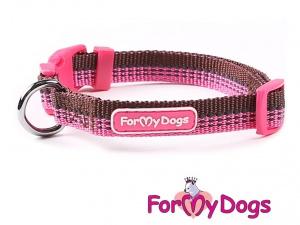 Obojky pro psy – fuchsiový obojek z kolekce ForMyDogs FUCHSIA/BROWN (2)