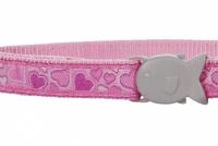 Růžový obojek pro kočky z kvalitního nylonu s bezpečnostní plastovou sponou Fish Clip (2).
