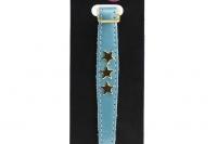 Luxusní kožený obojek pro kočky BOBBY – modrý se zlatými hvězdami. Klasické zapínání s bezpečnostní gumou, univerzální velikost (2).