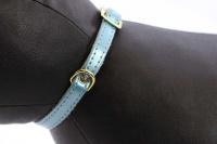 Luxusní kožený obojek pro kočky BOBBY – modrý se zlatými hvězdami. Klasické zapínání s bezpečnostní gumou, univerzální velikost (4).