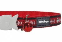 Červený obojek pro kočky z kvalitního nylonu s bezpečnostní plastovou sponou Fish Clip. Pro kočky s obvodem krku 20–32 cm, šířka obojku 12 mm (3).