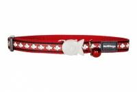 Červený reflexní obojek pro kočky z kvalitního nylonu s bezpečnostní plastovou sponou Fish Clip.