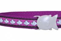 Fialový reflexní obojek pro kočky z kvalitního nylonu s bezpečnostní plastovou sponou Fish Clip (2).