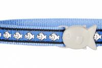 Modrý reflexní obojek pro kočky z kvalitního nylonu s bezpečnostní plastovou sponou Fish Clip (2).