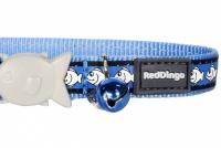 Modrý reflexní obojek pro kočky z kvalitního nylonu s bezpečnostní plastovou sponou Fish Clip (3).