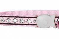 Růžový reflexní obojek pro kočky z kvalitního nylonu s bezpečnostní plastovou sponou Fish Clip (2).