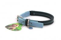 Stylový obojek pro psy ROSEWOOD Baby Blue z jemné, ručně prošívané kůže s leštěným zapínáním. Barva modrá/šedá. (2)