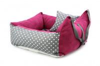 Růžová autosedačka pro psy – pelíšek pro pohodlné cestování a ochranu autosedadel před psími chlupy, nečistotami a poškozením. (4)