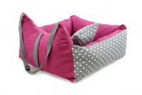 Růžová autosedačka pro psy – pelíšek pro pohodlné cestování a ochranu autosedadel před psími chlupy, nečistotami a poškozením. (6)
