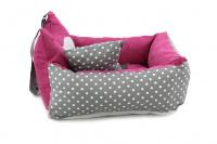 Růžová autosedačka pro psy – pelíšek pro pohodlné cestování a ochranu autosedadel před psími chlupy, nečistotami a poškozením. (7)