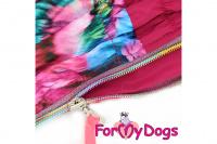 Obleček pro fenky malých až středních plemen – lehoučká pláštěnka FLOWERS PINK od For My Dogs. (2)