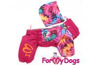 Obleček pro fenky malých až středních plemen – lehoučká pláštěnka FLOWERS PINK od For My Dogs. (3)