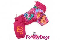 Obleček pro fenky malých až středních plemen – lehoučká pláštěnka FLOWERS PINK od For My Dogs. (4)
