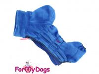 Obleček pro psy – lehoučký overal ForMyDogs BLUE z jednovrstvého plyše. Zvýšený límec, zapínání na zip na zádech. Barva modrá. (3)