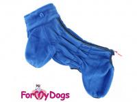 Obleček pro psy – lehoučký overal ForMyDogs BLUE z jednovrstvého plyše. Zvýšený límec, zapínání na zip na zádech. Barva modrá. (4)