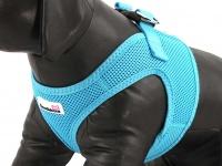 Hrudní postroj pro psy anglické značky Doodlebone v zářivě modré barvě. Vzdušný síťovaný materiál, dvojité zapínání (detail)